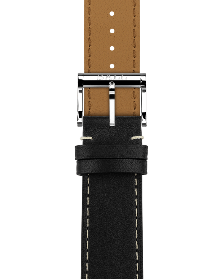 Black calf leather 21mm - Polished pin buckle