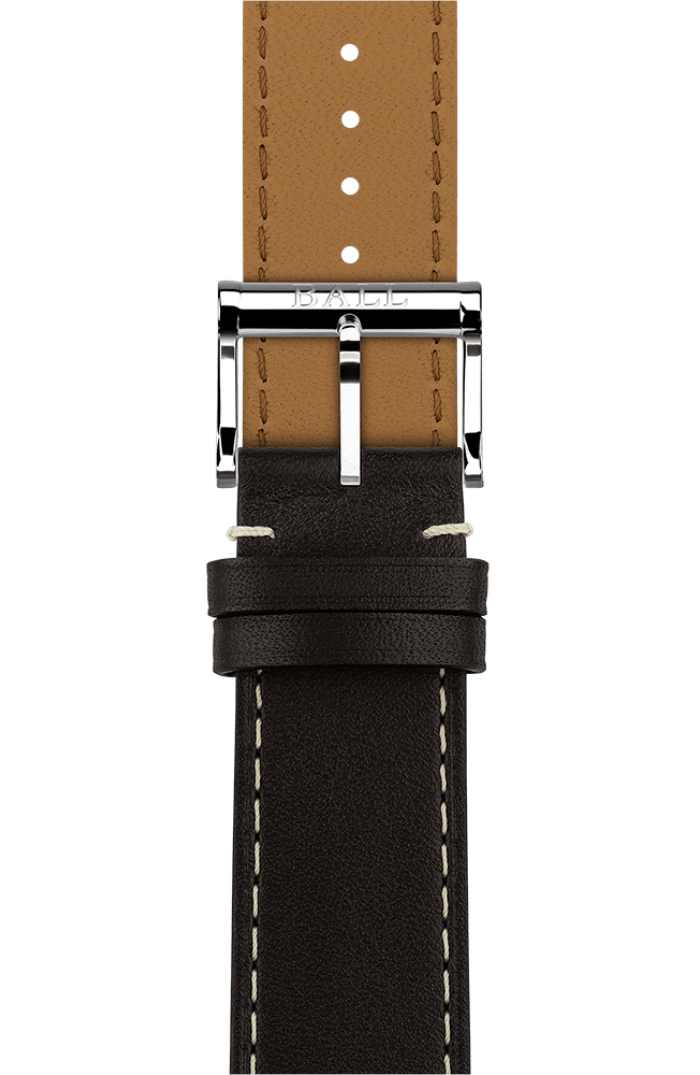 Brown calf leather 21mm - Polished pin buckle