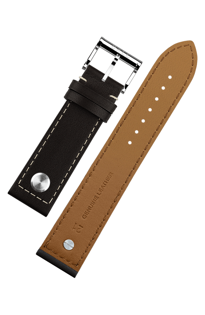 Brown calf leather 22mm - Polished pin buckle